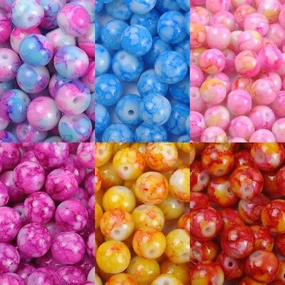 Mixed MOTTLE Glass Marble Effect Round BEADS - Choose 4MM, 6MM & 8MM - Marble Beads