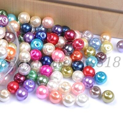 Mixed Quality Czech GLASS PEARL Round & Loose BEADS Choose,4MM 6MM 8MM 10MM