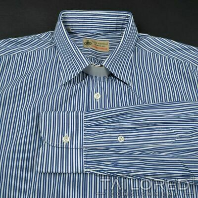 BORRELLI Luxury Vintage Blue Striped 100% Cotton Mens Dress Shirt - 16.5