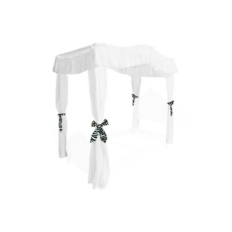 WHITE FULL SIZE PRINCESS BED DRAPE CANOPY CURTAINS FABRIC TO