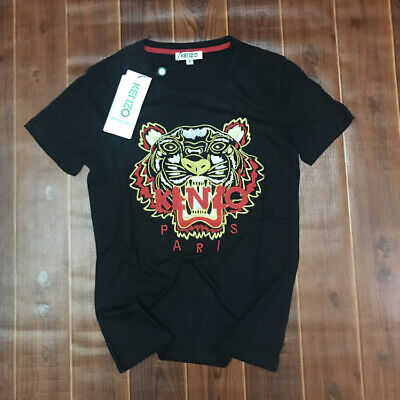 Couple Embroidered Kenzo Paris Mens Black Tiger Tshirt