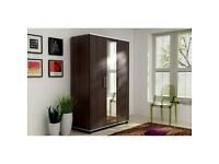 BRAND NEW 3 HINGED DOORS WARDROBE WITH MULTIPLE SHELVES AND HANGING RAIL IN BROWN or WHITE COLOR