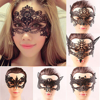 Masquerade Eye Mask Black Lace Halloween Fancy Party Dress 6 Design UK