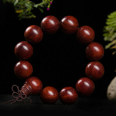 Natural 20MM Red Sandalwood Monk Blessing Buddhist Buddha Prayer Beads Bracele - Monk Beads