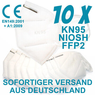 KN95 / FFP2 Halb Masken im 10er Pack - CE zertifiziert (EN 149:2001 + A1:2009)