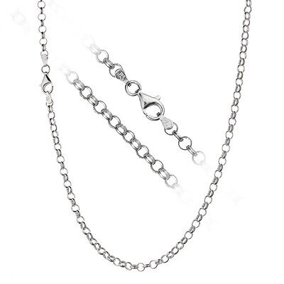 4mm Sterling Silver Cable Link - Solid 925 Sterling Silver 4mm Italian Rolo Link Cable Chain Necklace ALL SIZES