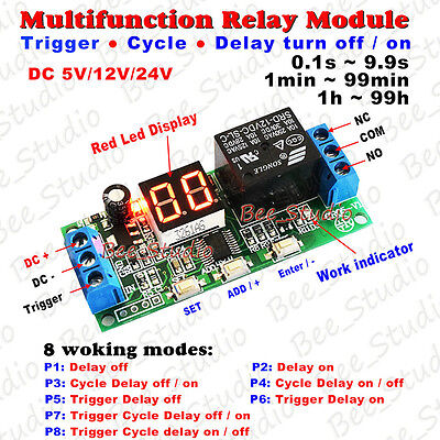 (DC 12V 24V Digital LED Infinite Cycle Delay Timer Switch ON/OFF Relay Module)