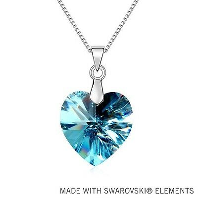 Aquamarine Blue Made with Swarovski Crystal Heart Silver Pendant Necklace N38 Aquamarine Swarovski Crystal Pendant