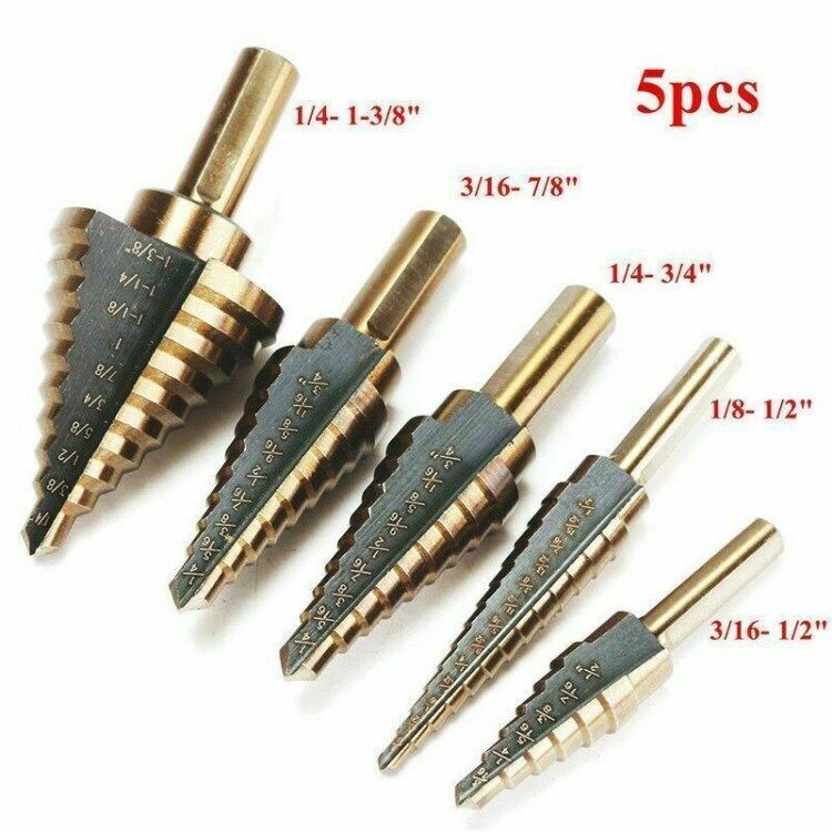 5 Pieces HSS Step Large Titanium Cone Drill Hole Cutter Bit Set Tool - Free Ship