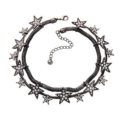 Silver Black Row Crystal Necklace - Necklace Silver Black short Ras of the Neck Chain Two Row Star Crystal JD1