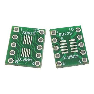 10pcs Ic Sot23 Ssop10 Msop10 Umax To Dip 0.50.95mm Adapter Pcb Board Converter