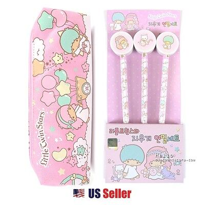 Little Twin Stars Pencil Case Cosmetic Pouch and 3pcs Pencil with Eraser Set