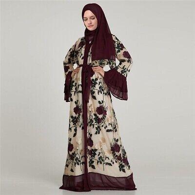**UK STOCK** Muslim Women Lace Embroidery Hijab Abaya Kaftan Long Dress