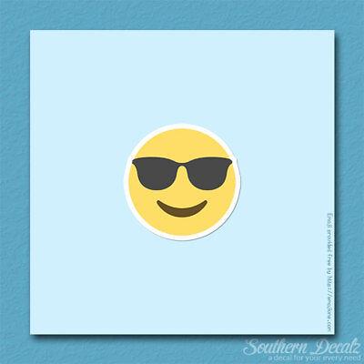 Cool Sunglasses Smiley Emoji - Vinyl Decal Sticker - c115 - 3.75