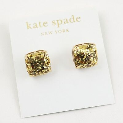 Auth New KATE SPADE Sparkling Gold Glitter Small Square Stud Earrings 12k Gold