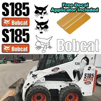 Bobcat S185 Skid Steer Set Vinyl Decal Sticker 5 Pc Set Free Decal Applicator