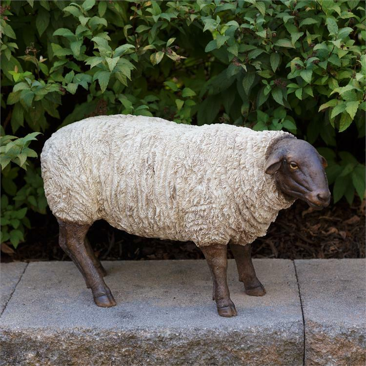 """Natural Sheep Grazing White and Black Figure 9.5"""" H"""