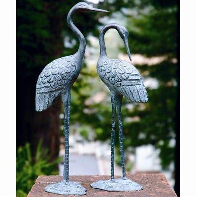 """16""""H Brass Love Crane Pair Sculpture Indoor Outdoor Garden Bird Heron Statue"""