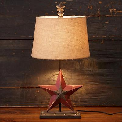 New Primitive Country RUSTIC BARN STAR LAMP Burlap Shade Electric Table Light