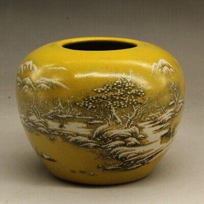 "3.7/""Collect China Fengshui Bronze Flower Pot Jar Crock Writing-brush Washer 福旺发财"