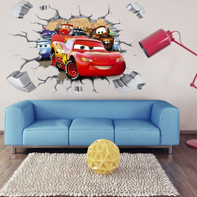 3D CARS Lightning McQueen Wall Stickers Decals PVC Mural Kids Boys Bedroom Decor