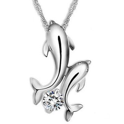 Schöne silberne Kette mit Delphin-Anhänger und Strassstein für Damen Mädchen