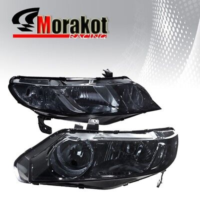 Honda Civic 4 Door Corner - For 06-11 Honda Civic 4 Door Smoke Headlights HeadLamps Clear Corner Reflector
