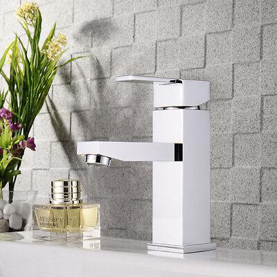 Bath Sink Mixer Tap Brass Basin Square Faucet Chrome Single Hole Deck Mounted