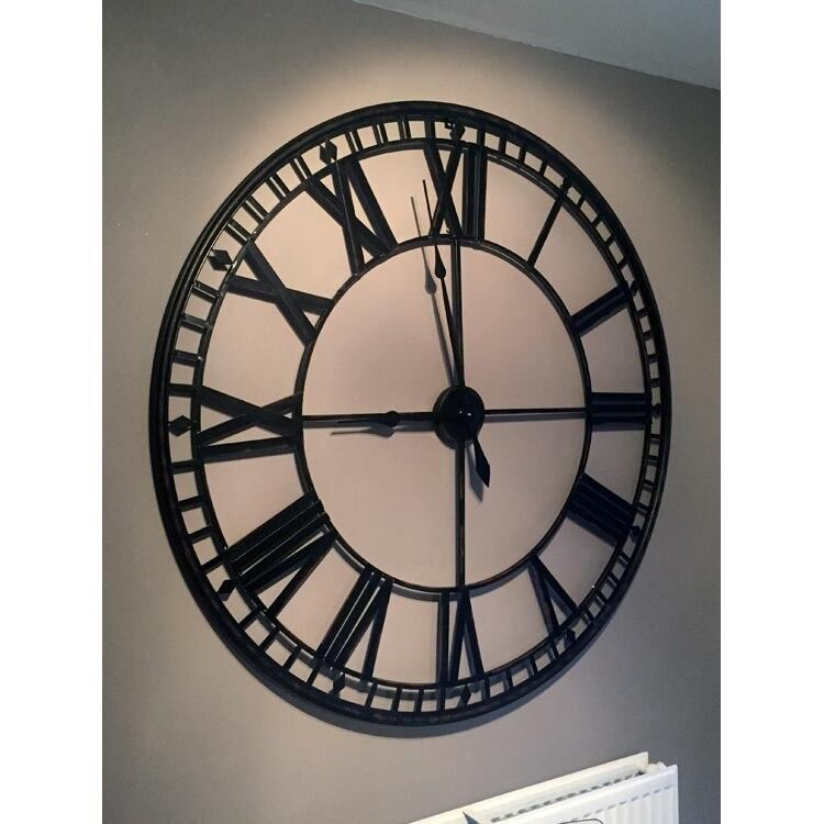 120cm 47 Huge Large Black Wall Clock Roman Numerals Round Designer Hall Office Kitchen Rrp