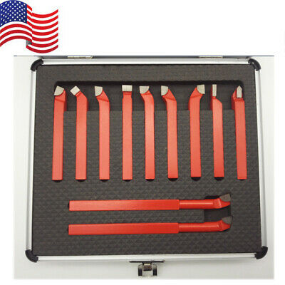 11 Pcs Carbide 38 Tip Tipped Cutter Tool Bit Cutting Set Metal Lathe Tooling
