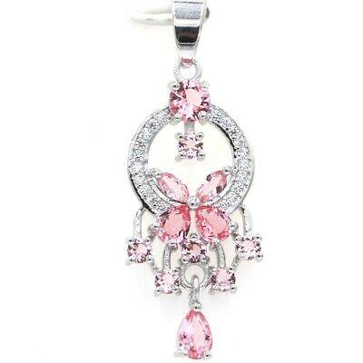 Pretty Pink Morganite SheCrown White Cubic Zirconia Silver Pendant Morganite White Pendant