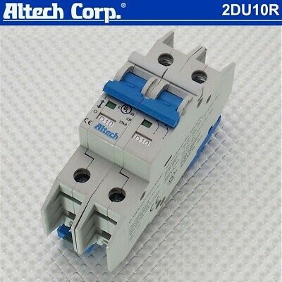 New Altech 2du10r 10a120240277480vac 2-pole D-trip Din Rail Circuit Breaker