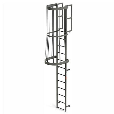 Steel Fixed Ladder - NEW! EGA Steel Fixed Cage Ladder, 12 Step Gray!!