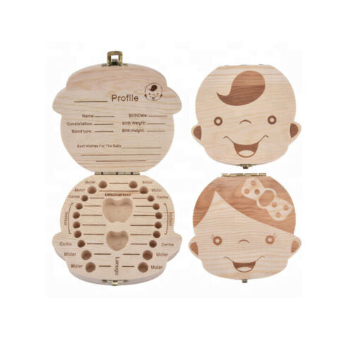Baby Teeth Save Box Wooden Tooth Fairy Souvenir Boxes Tooth Organizer Keepsake