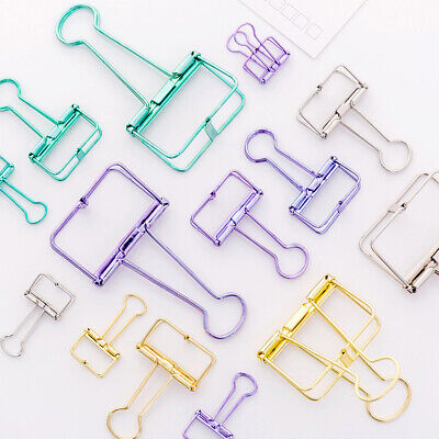 Usa Colorful Metal Hollow Paper Clips Binder File Holder Office Supply 2pcs Set
