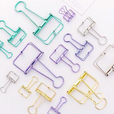 Colorful Metal Hollow Paper Clips Binder File Holder Office Supply 2pcsset