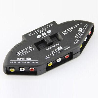3 Fach Audio Video Umschalter Verteiler AV Splitter Box Adapter + RCA Cinchkabel - Video Splitter Box