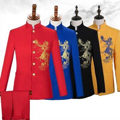 Formelle Hosen Anzüge (Herren Chinesische ethnische Anzüge 2 Stück Vintage formelle Anzüge Mäntel Hosen)
