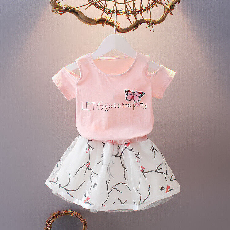summer children clothing sets suit for girls t-shirt skirt 2