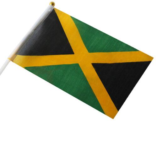 Thin Small National Jamaican Hand Flag - Caribbean Car Travel Banner Rasta