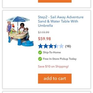 Step 2 Sail Away Adventure Sand and Water Table with Umbrella