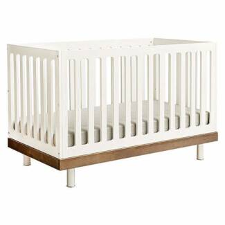 Oeuf Classic Cot in Walnut w/ Toddler Bed Conversion Kit