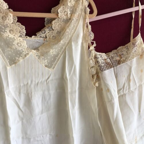 Vintage lace undergarments a night gown and a teddy 20s era