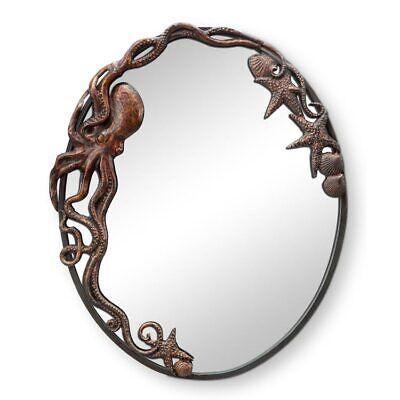 Cast Iron Octopus Oval Wall Mirror