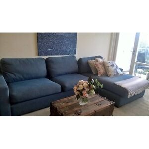 FREE DELIVERY - Spacious 5 Seater OCEAN BLUE Fabric Chaise Lounge Five Dock Canada Bay Area Preview