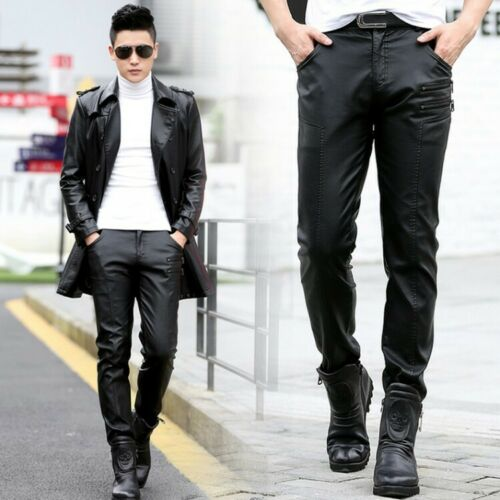 Punk Fashion Men/'s Faux Leather Zip Casual Trousers Stretchy Slim Skinny Pants