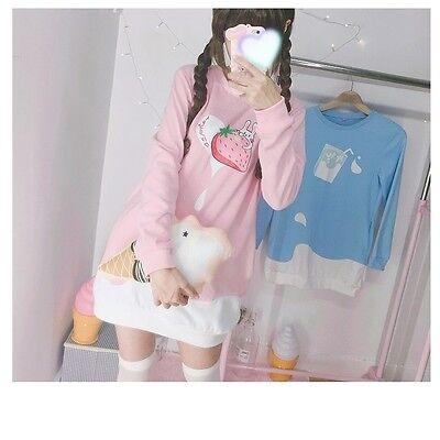 Woman Lolita Long Sleeve Harajuku Cute Strawberry Preppy Style Sweatshirt Dress
