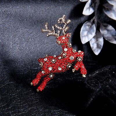 Red Crystal Reindeer Pin Brooch unsigned famous designer Vixen? Christmas new