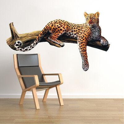 Leopard Wall Decal Mural Wild Cat Safari Animal Tree Wall Vinyl Mural, a70