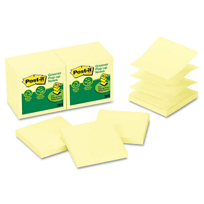 Post-it Recycled Pop-up Notes 3 X 3 Canary Yellow 100-sheet 12pack R330rp12yw